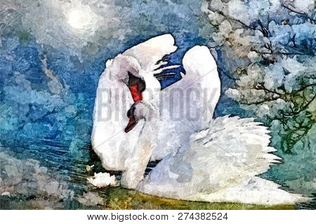 Swans On The Lake. Painting Wet Watercolor On Paper. Naive Art. Abstract Art. Drawing Watercolor On