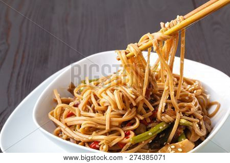 Yakisoba, Stir-fried Noodles With With Vegetables And Meat