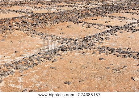 Old Disused Salt Works In Lanzarote. Salinas De Janubio. Canary Islands. Spain
