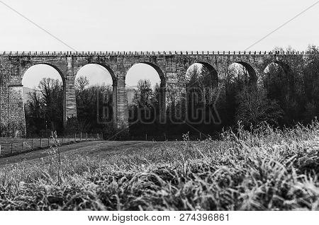 Bela Krajina, Slovenia, Eu - December 9, 2018: Viaduct Otovec Located In Bela Krajina Used For Railr