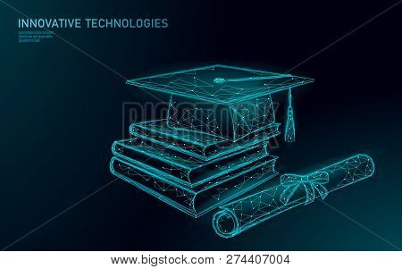 E-learning Distant Graduate Certificate Program Concept. Low Poly 3d Render Graduation Cap, Books, D