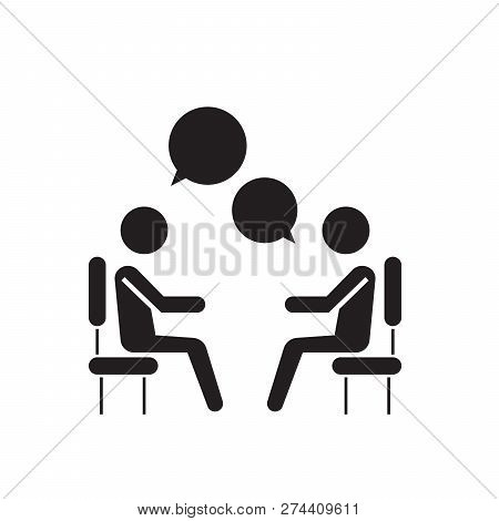 Focus Group Research Black Vector Concept Icon. Focus Group Research Flat Illustration, Sign