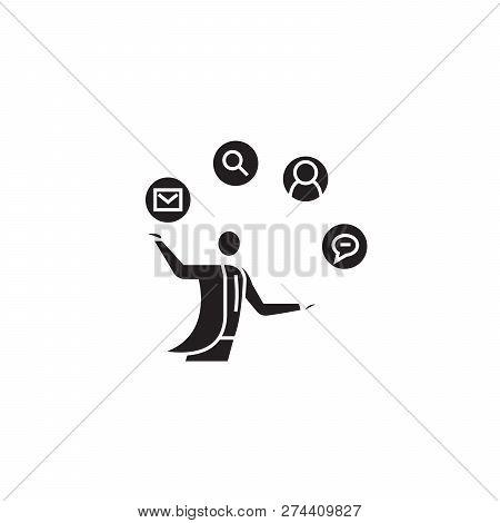 Founder Black Vector Concept Icon. Founder Flat Illustration, Sign