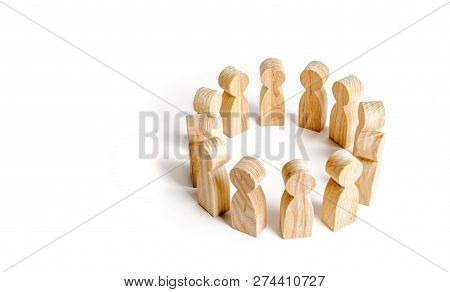 People Stand In A Circle On A White Background. Communication. Business Team, Teamwork, Team Spirit.