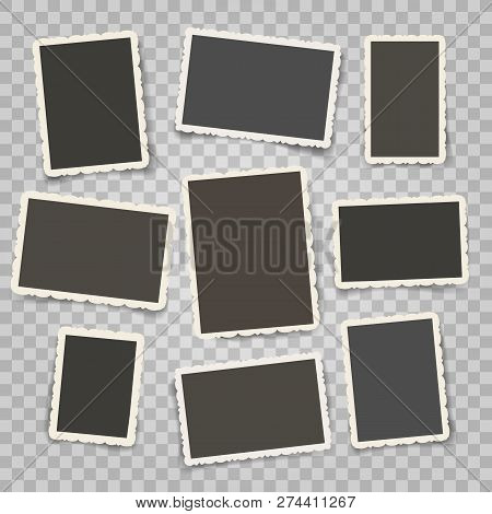Retro Photo Frames Templates. Old Photoframe Or Vintage Postcard Template Set, Old Pictures With Orn