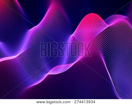 3d Sound Waves, Visual Audio Equalizer. Big Data Abstract Visualization. Neon Bright Sound Waves. Di