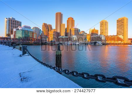 View on Boston city center at sunrise in winter