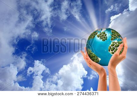Hands Holding A Glowing Earth - Conceptual Image Of The Earth Day, Saving Energy, Protecting The Env