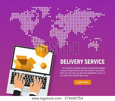Online Delivery Service Of Good Vector Illustration. Web Application For Transportation Of Goods And