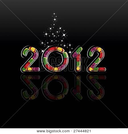 abstract, glossy 2012  on black color background with twinkle stars for Happy new year & other occasions. poster