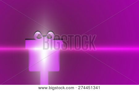 Gift Violet Merry Christmas Modern Background Purple Flicker. New Years Backdrop Lilac. Vector Illus