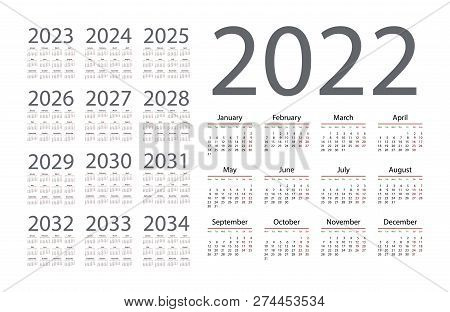 Simple Calendar 2022 Vector & Photo (Free Trial) | Bigstock