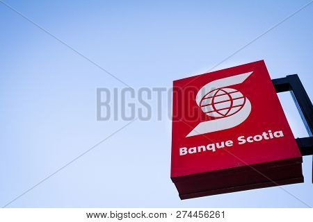 Montreal, Canada - November 4, 2018: Scotiabank Logo, In Front Of One Of Their Banking Center In Mon