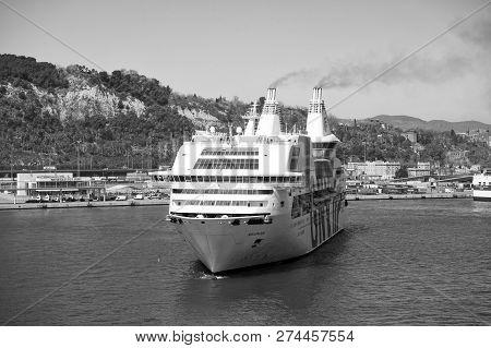 Barcelona, Spain - March 30, 2016: Cruise Ship Gnv Rhapsody Genova In Harbor. Cruise Ship Destinatio