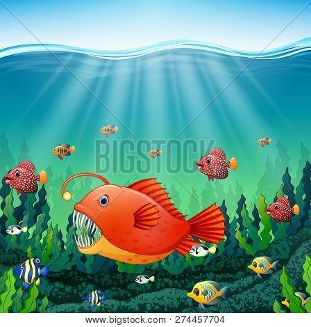 Vector Illustration Of Cartoon Angler Fish Underwater