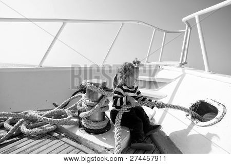 Journey Concept. Little Kid Enjoy Sea Journey. Get Ready For Journey. Life Is A Journey, Travel It W