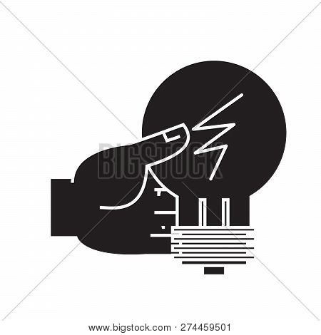 Idea Decision, Hand With Lamp Black Vector Concept Icon. Idea Decision, Hand With Lamp Flat Illustra