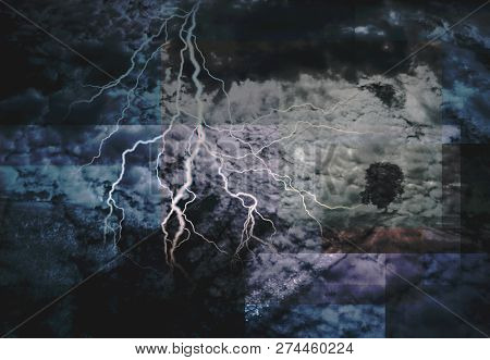 Abstract clouds and lightning storm. 3D rendering