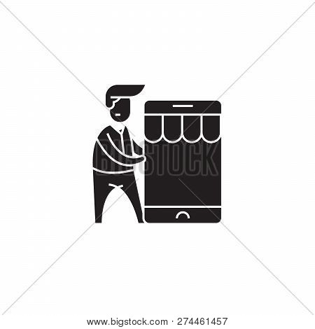 Mobile Commerce Integration Black Vector Concept Icon. Mobile Commerce Integration Flat Illustration