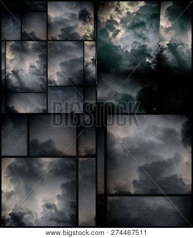 Abstract geometric background with clouds. 3D rendering