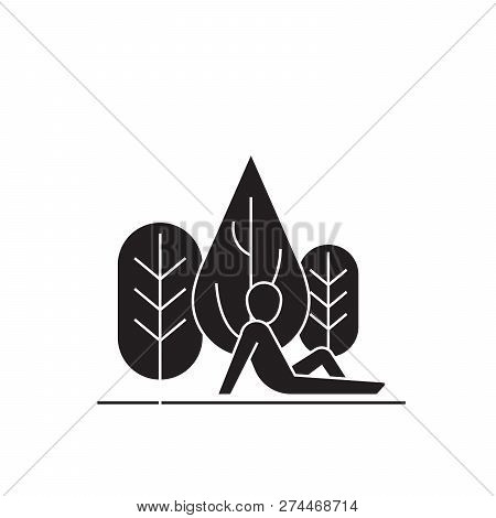 Rest In The Woods Black Vector Concept Icon. Rest In The Woods Flat Illustration, Sign