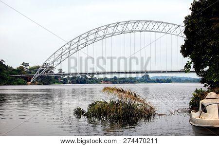 Modern Bridge In Ghana. Development Of Infrastructure In West Africa. Landmarks In Ghana. Great Afri