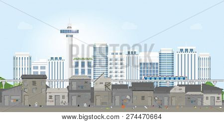 Landscape Of Slum City Or Old Town Slum On Urban City Landscape With Contemporary Buildings, Gap Bet