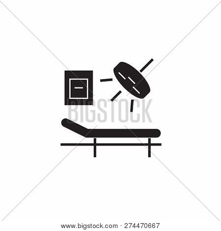 Surgery Room Black Vector Concept Icon. Surgery Room Flat Illustration, Sign