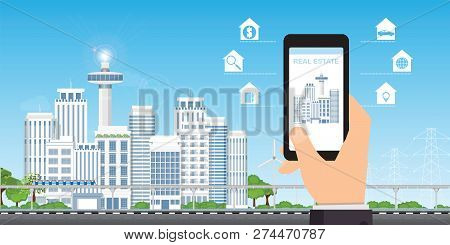 Real Estate App Concept On A Mobile Phone Screen, Searching A House, Apartment Or Property To Buy Or