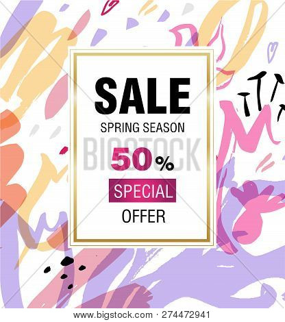 Template Design Sale Banner. Vertical Poster For Spring Season Sale With Abstract Flower Decoration.