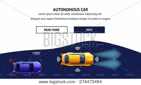Autonomus Car Flat Cartoon Vector Illustration. Future City Transport With Safety Sensor Gps Radar S