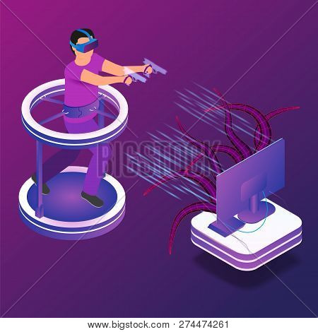 Isometric Illustration Gaming In Virtual Reality. Vector Image Guy Playing Video Game Tv Using Virtu