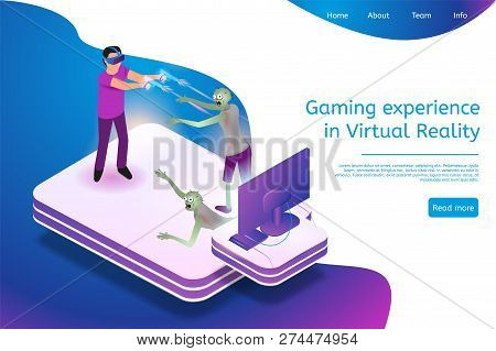 Isometric Gaming Experience In Virtual Reality. Vector Banner Illustration Guy Play Video Game Using