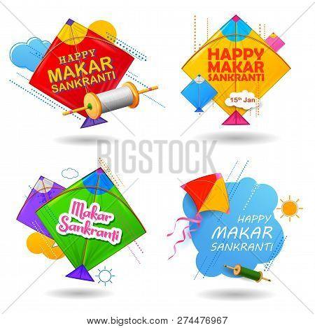 Happy Makar Sankranti Wallpaper With Colorful Kite String For Festival Of India