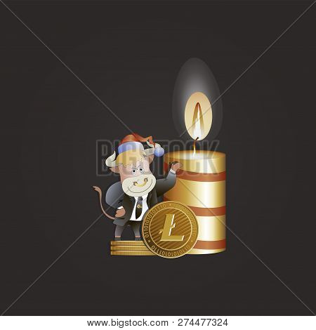 Bull Businessman Shows Growth Litecoin. Christmas Candle. Cryptography, Illustration Of Financial Te