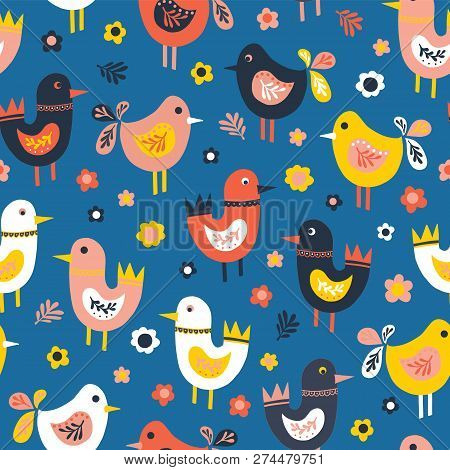 Doodle Birds And Flowers Seamless Vector Pattern. Scandinavian Flat Style Cute Birds Red, Blue, Pink