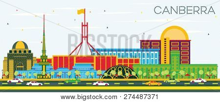 Canberra Australia City Skyline with Color Buildings and Blue Sky. Business Travel and Tourism Concept with Modern Architecture. Canberra Cityscape with Landmarks.