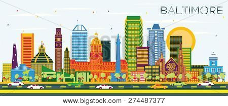 Baltimore Maryland City Skyline with Color Buildings on Blue Sky. Business Travel and Tourism Concept with Modern Architecture. Baltimore Cityscape with Landmarks.