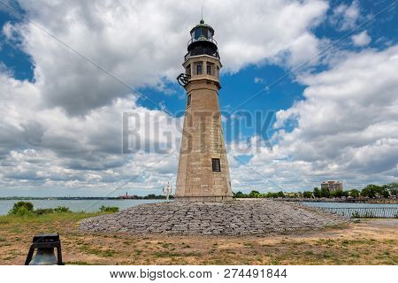 Buffalo North Breakwater Lighthouse In Summer Day, Lake Erie, Buffalo, New York.