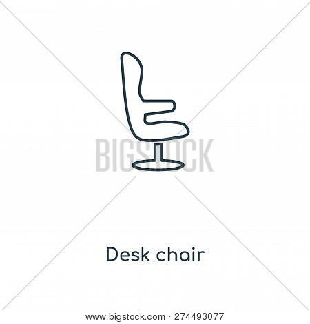 Desk Chair Icon In Trendy Design Style. Desk Chair Icon Isolated On White Background. Desk Chair Vec