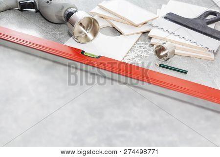 Ceramic Tiles And Tools For Tiler, Tiles Installation. Home Improvement, Renovation - Ceramic Tile F