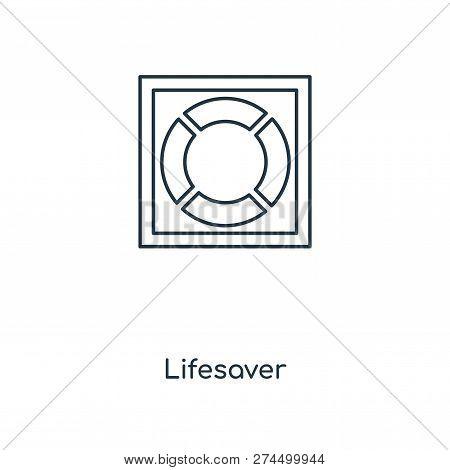 Lifesaver Icon In Trendy Design Style. Lifesaver Icon Isolated On White Background. Lifesaver Vector