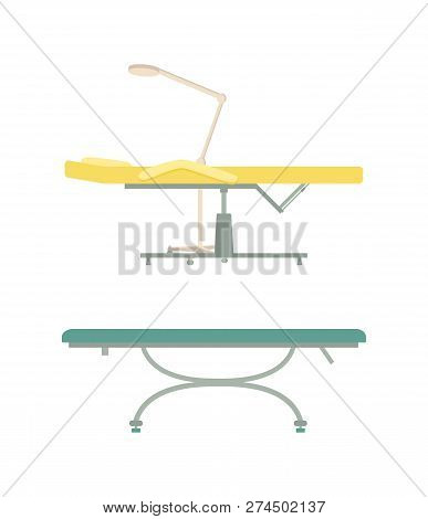 Empty Table For Spa Procedure And Massage Cartoon Set Vector Isolated Emblems. Modern Comfortable Eq