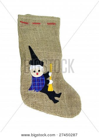 Epiphany Jute Sock With Black Befana Patch