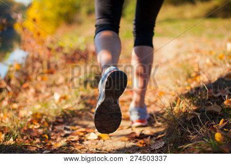 Legs Of Woman Running In Autumn Park