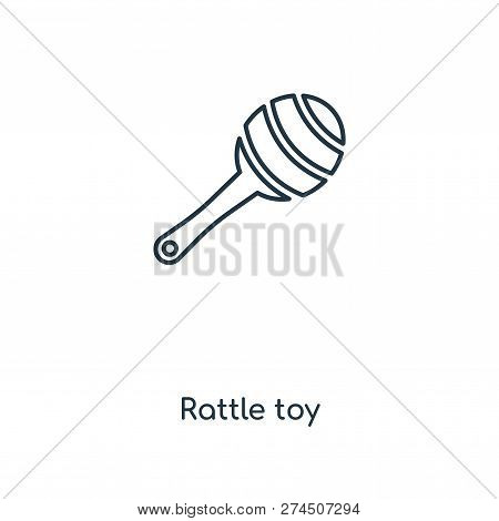 Rattle Toy Icon In Trendy Design Style. Rattle Toy Icon Isolated On White Background. Rattle Toy Vec