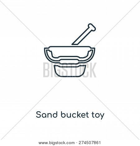 Sand Bucket Toy Icon In Trendy Design Style. Sand Bucket Toy Icon Isolated On White Background. Sand