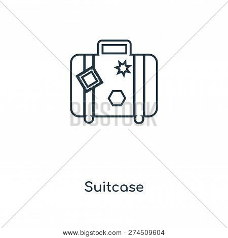 Suitcase Icon In Trendy Design Style. Suitcase Icon Isolated On White Background. Suitcase Vector Ic