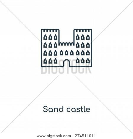Sand Castle Icon In Trendy Design Style. Sand Castle Icon Isolated On White Background. Sand Castle