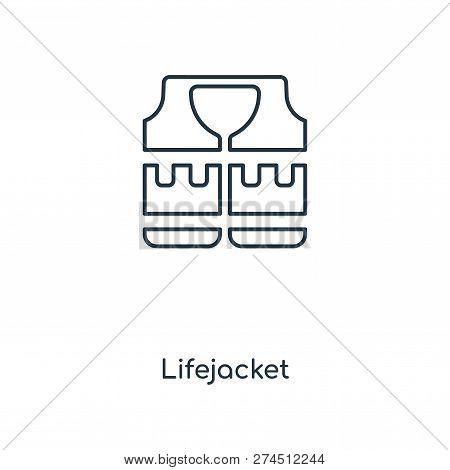 Lifejacket Icon In Trendy Design Style. Lifejacket Icon Isolated On White Background. Lifejacket Vec